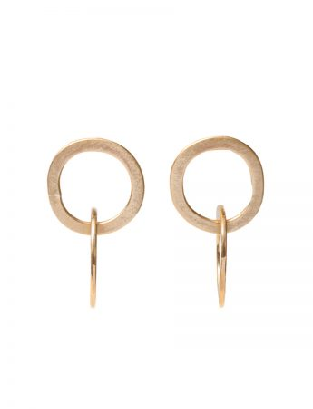 Double Link Halo Stud Earrings - Yellow Gold