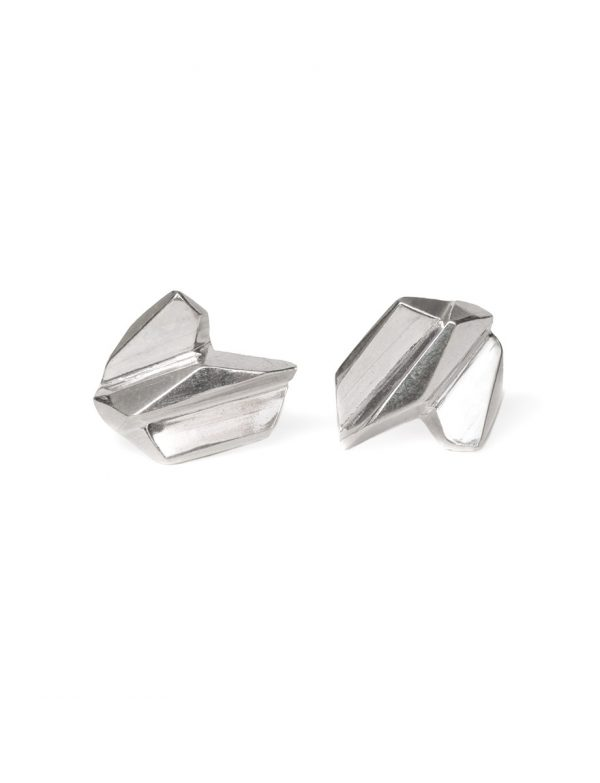 Fractured Facet Stud Earrings – Silver