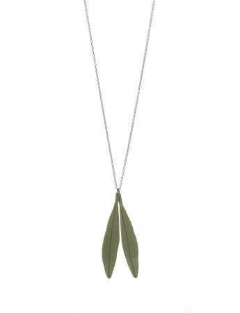 Olive Leaves Pendant Necklace - Green