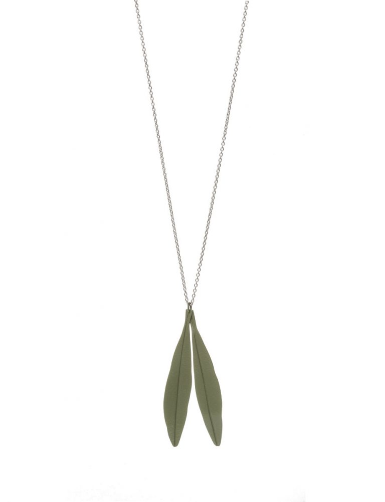 Olive Leaves Pendant Necklace – Green