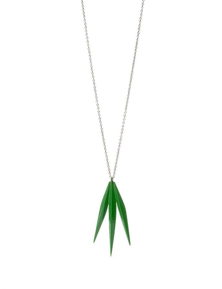 Palm Frond Pendant Necklace – Green