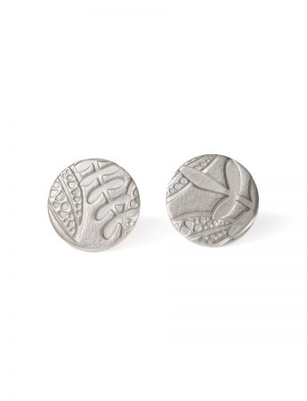 Round Leaf Imprint Stud Earrings - Silver