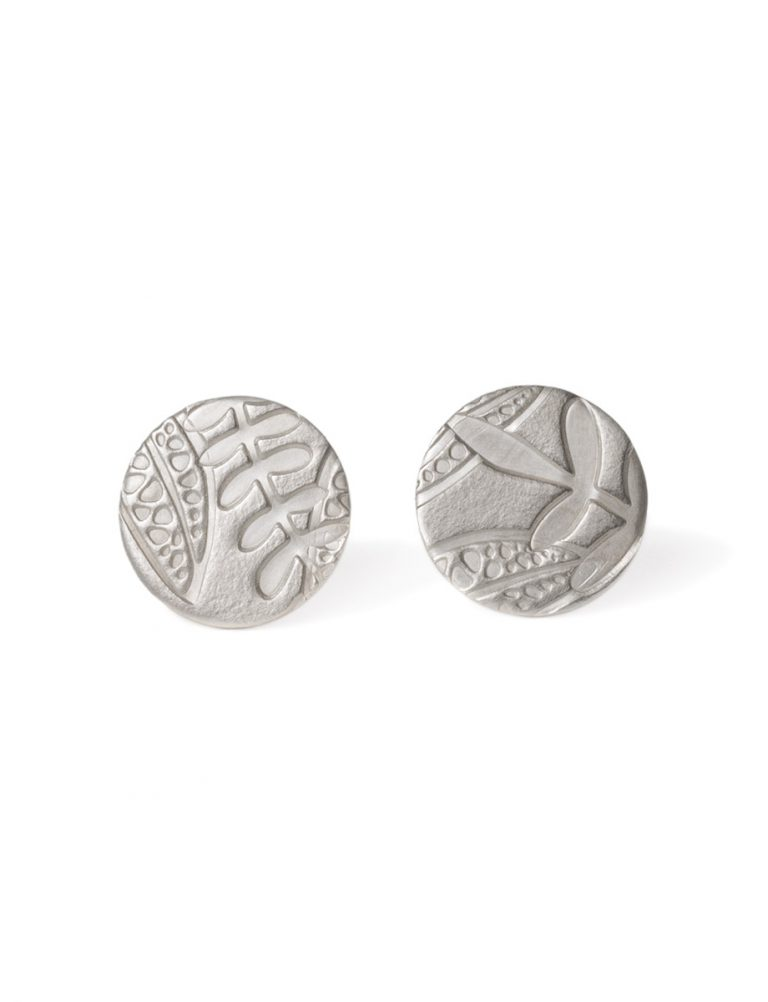 Round Leaf Imprint Stud Earrings – Silver