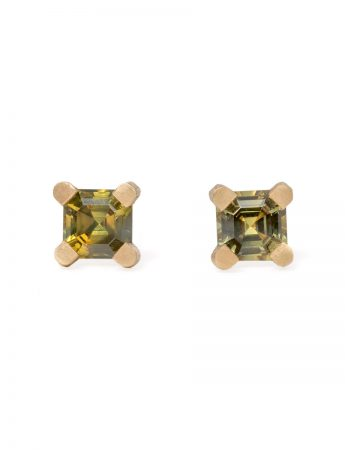Square Spider Stud Earrings - Sapphire