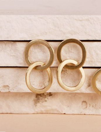 Double Link Halo Stud Earrings – Yellow Gold