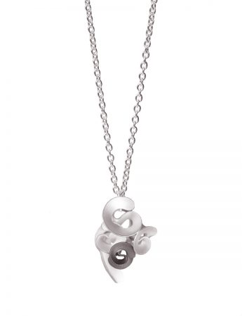 Cloud and Wind Pendant Necklace - Silver & Black