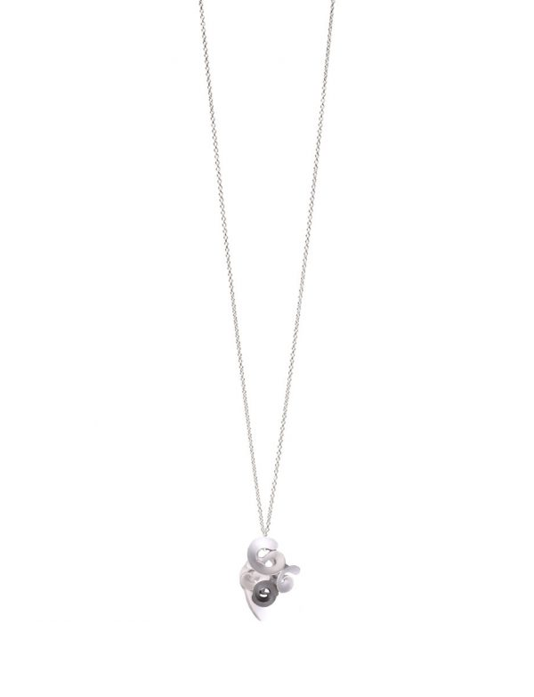Cloud and Wind Pendant Necklace – Silver & Black