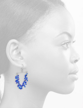 Glass Chandelier Earrings – Blue