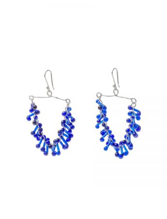 Glass Chandelier Earrings - Blue