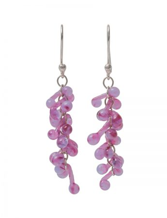 Glass Twist Earrings - Pink & Purple