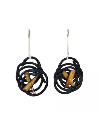 Moon Kissed Hook Earrings - Black & Gold
