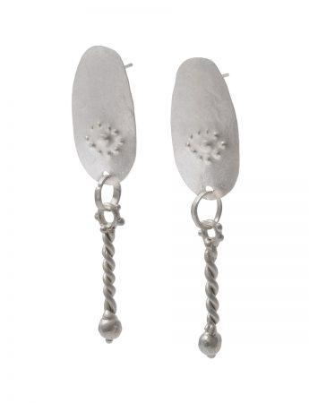 Persephone Drop Stud Earrings - Silver