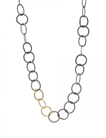 Tsugi Tsugi Circle Chain Necklace – Black & Gold