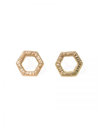 Water Frequency Stud Earrings - Yellow Gold