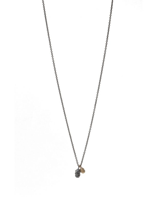 Beachcomber Double Drop Pendant Necklace – Black & Gold