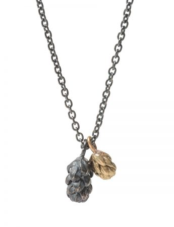 Beachcomber Double Drop Pendant Necklace - Black & Gold