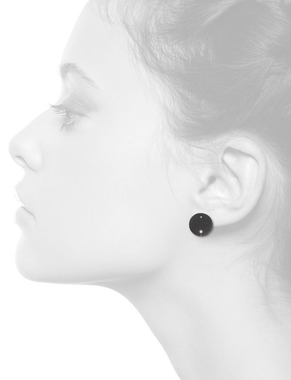 Diamond Disc Stud Earrings – Black