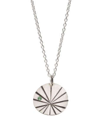 Silver Fan Shell Pendant Necklace – Green Sapphire