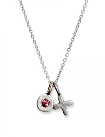 XO Love Charm Necklace – White Gold & Pink Sapphire