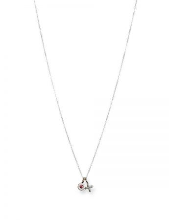 XO Love Charm Necklace - White Gold & Pink Sapphire