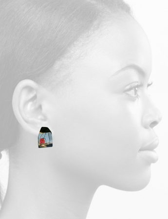 Apron Stud Earrings - Blue & Pink