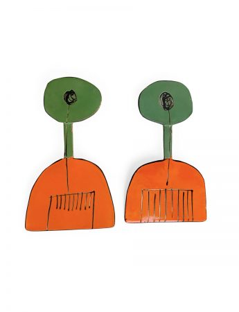 Cutlery Earrings - Green & Orange