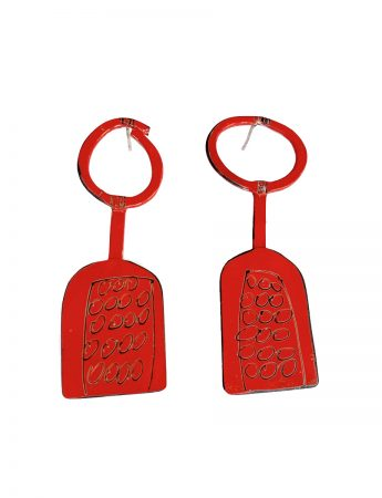 Cutlery Earrings - Red