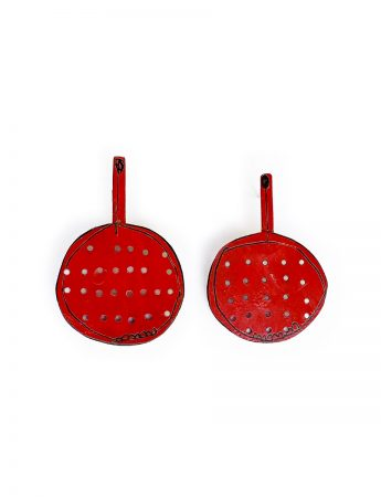 Red Sieve Stud Earrings