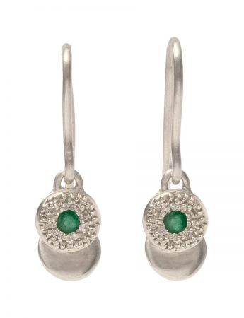 Beloved Assemblage Silver Hook Earrings - Emerald