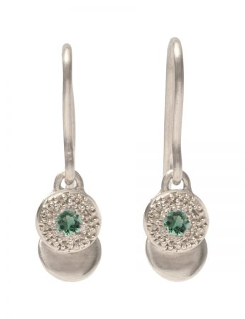 Beloved Assemblage Silver Hook Earrings - Green Tourmaline