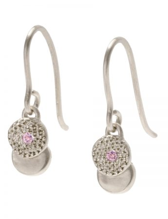 Beloved Assemblage Silver Hook Earrings - Pink Sapphire