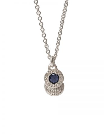Beloved Assemblage Two Disc Silver Pendant Necklace - Blue Sapphire