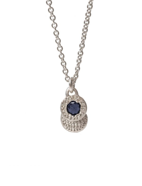 Beloved Assemblage Two Disc Silver Pendant Necklace – Blue Sapphire