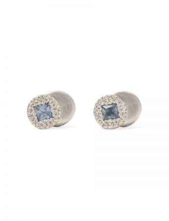 Beloved Assemblage Silver Two Stack Stud Earrings - Blue Sapphire