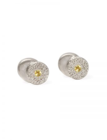 Beloved Assemblage Silver Two Stack Stud Earrings - Yellow Sapphire