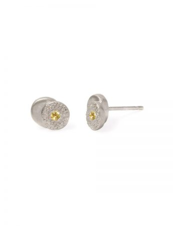 Beloved Assemblage Silver Two Stack Stud Earrings – Yellow Sapphire