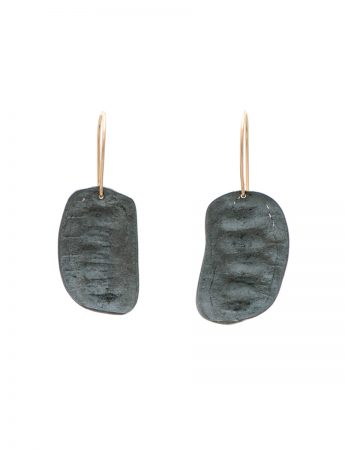 Bushwalker Seed Pod Hook Earrings - Black & Gold