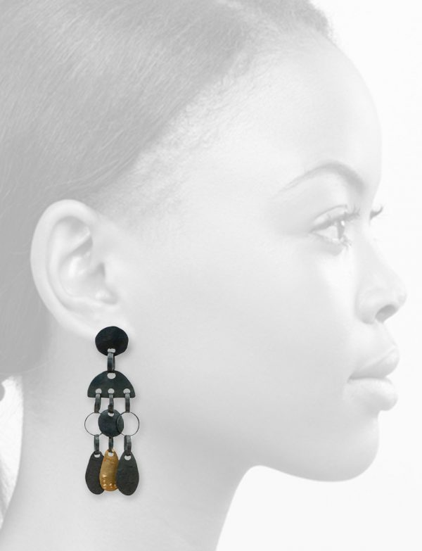 Oracle Earrings – Black & Gold