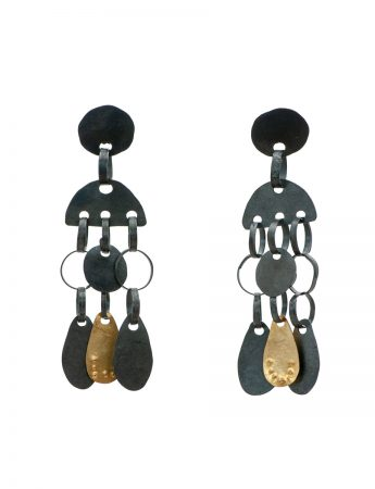 Oracle Earrings - Black & Gold