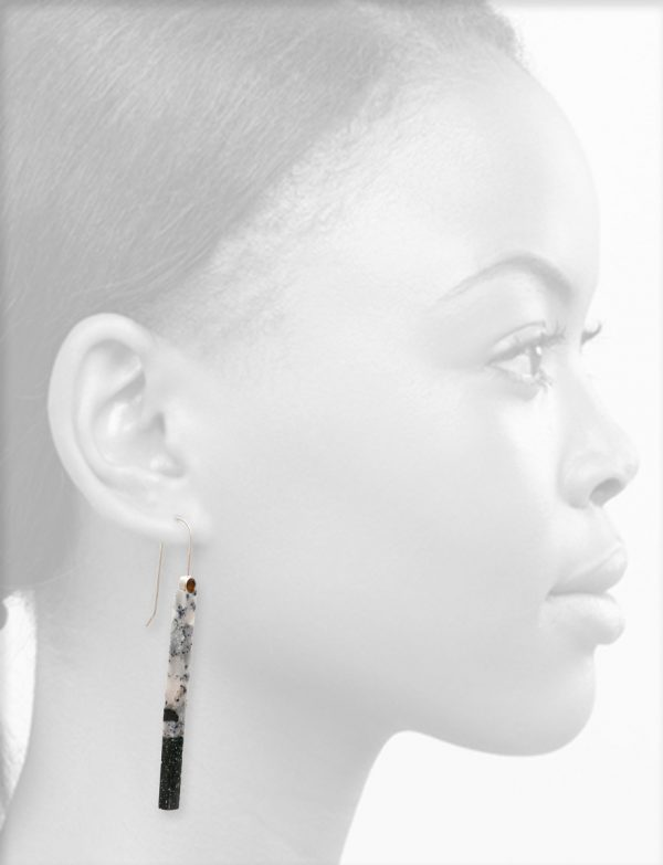 Long Asymmetric Bronze Tourmaline Drop Earrings