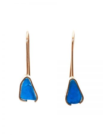 Beach Glass Earrings - Dark Blue