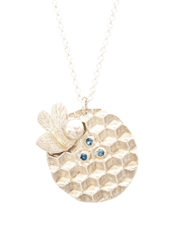 Bee Medallion Necklace – Silver & Blue Sapphires