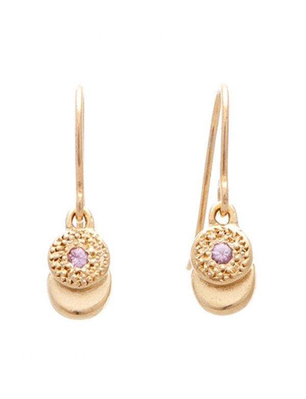 Beloved Assemblage Two Stack Hook Earrings – Gold & Pink Sapphires