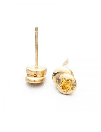 Beloved Assemblage Two Stack Stud Earrings - Gold & Yellow Sapphires