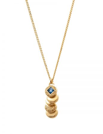 Beloved Assemblage Stacked Discs Pendant Necklace - Gold & Blue Sapphire