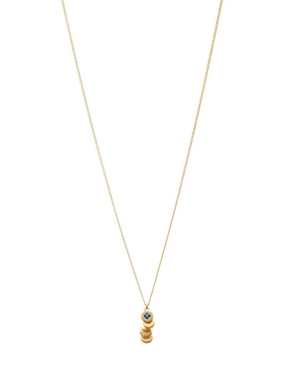 Beloved Assemblage Stacked Discs Pendant Necklace – Gold & Blue Sapphire