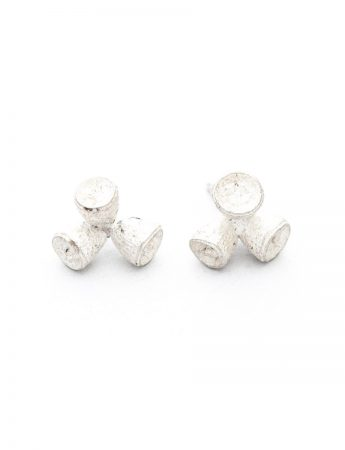 Bushwalker Triple Gumnut Stud Earrings - Silver
