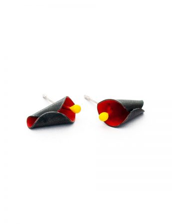 Calla Lily Stud Earrings - Black & Orange