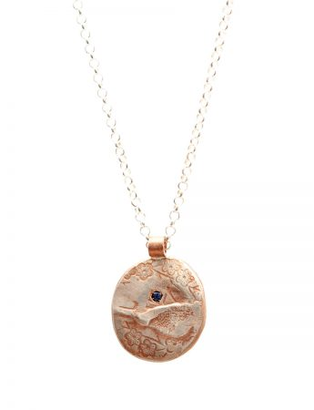 Cherry Blossom Charm Pendant Necklace - Rose Gold And Iolite