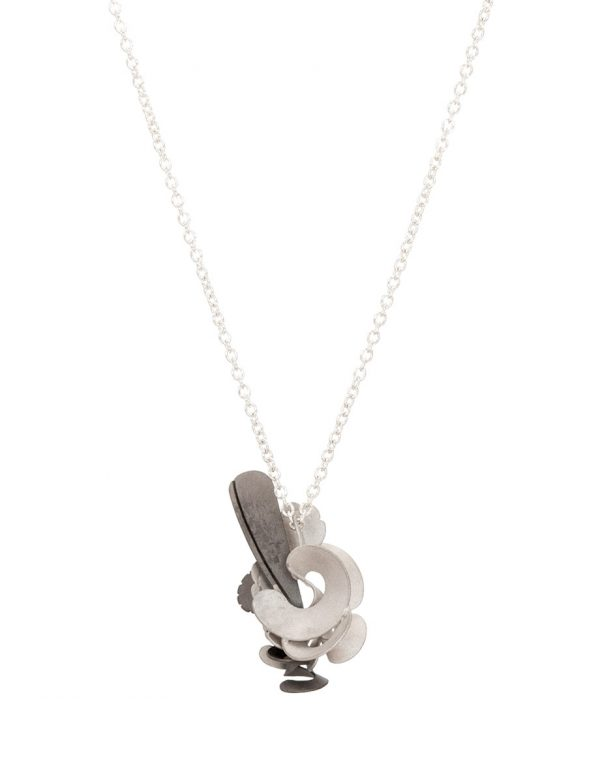 Cloud Bird Pendant Necklace – Silver & Grey